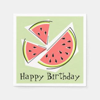Watermelon Green Pieces Happy Birthday Paper Napkin