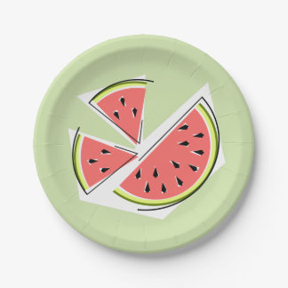 Watermelon Green Pieces paper plates