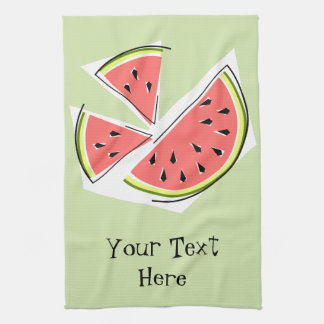 Watermelon Green Pieces Text kitchen towel
