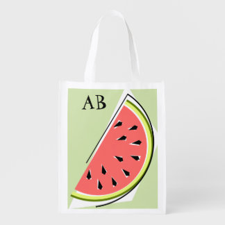 Watermelon Green Slice monogram reusable bag