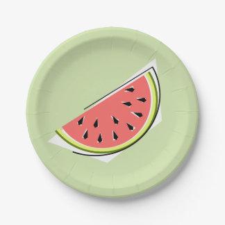 Watermelon Green slice paper plates