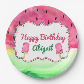 Watermelon Happy Birthday Plate Custom Name 9 Inch Paper Plate