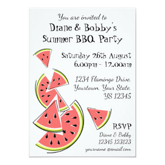 Watermelon invitation patterned back