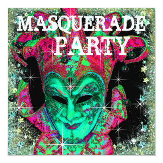 Watermelon Lime Green Hot Pink Masquerade Party Card