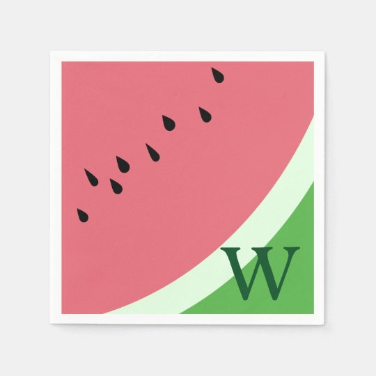 Watermelon Monogram Paper Napkins