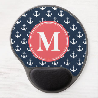 Watermelon Monogrammed Navy Blue Anchor Pattern Gel Mouse Pad
