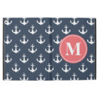 "Watermelon Monogrammed Navy Blue Anchor Pattern iPad Pro 12.9"" Case"
