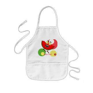 Watermelon monster fruit illustration kids apron