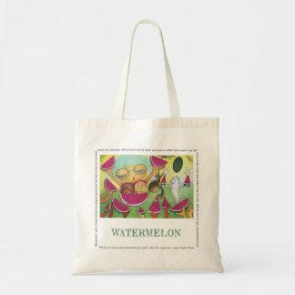 Watermelon natural canvas tote bag