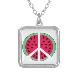 Watermelon of Peace Silver Plated Necklace