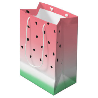 Watermelon Ombre Stripes Medium Gift Bag