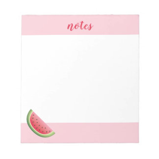 Watermelon On Pink & Personalized Title Or Name Notepad