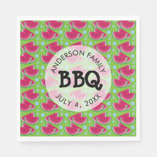 Watermelon Pattern Background Family BBQ Paper Napkins