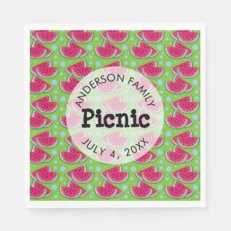 Watermelon Pattern Background Family Picnic Paper Napkins