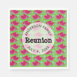 Watermelon Pattern Background Family Reunion Paper Napkins