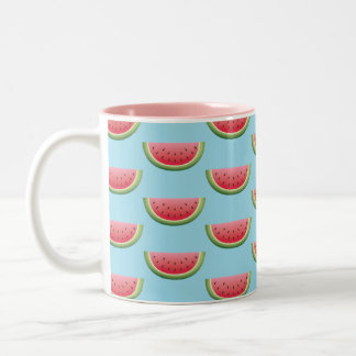 Watermelon Pattern On Blue Background Color Two-Tone Coffee Mug