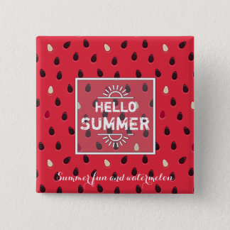Watermelon Pattern, Summer Time | Personalized 2 Inch Square Button