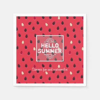 Watermelon Pattern, Summer Time | Personalized Paper Napkin