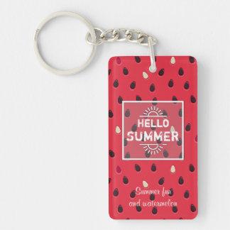 Watermelon Pattern, Summer Time   Personalized Single-Sided Rectangular Acrylic Keychain