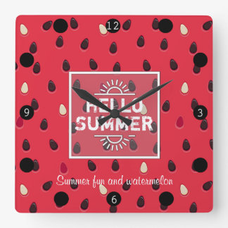 Watermelon Pattern, Summer Time | Personalized Square Wall Clock