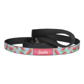 Watermelon Pattern With Dog's Name On Blue Pet Lead