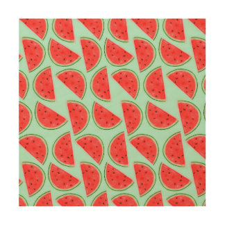 Watermelon Pattern - Wood Canvas