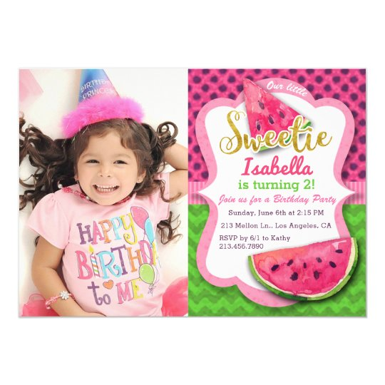Watermelon Photo Girls Birthday Party Invitation
