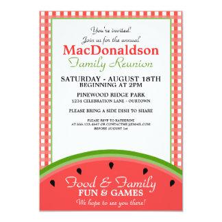"""Watermelon Picnic Family Reunion Invitations 5"""" X 7"""" Invitation Card"""