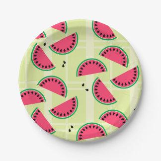 Watermelon Picnic Yellow Plaid Fruit Summer Melon Paper Plate