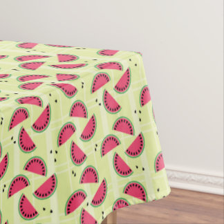 Watermelon Picnic Yellow Plaid Fruit Summer Melon Tablecloth