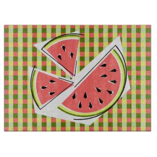 Watermelon Pieces Check cutting board