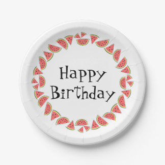 Watermelon Pieces Circle Happy Birthday Paper Plate