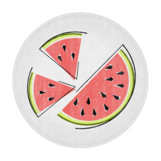 Watermelon Pieces cutting board round