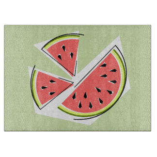 Watermelon Pieces Green cutting board