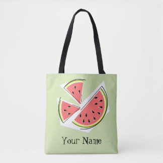 Watermelon Pieces Green Name tote bag