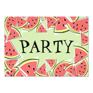 Watermelon Pieces Green Party invitation