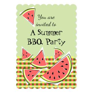 Watermelon Pieces Green Summer BBQ check vertical Card