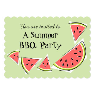 Watermelon Pieces Green Summer BBQ horizontal Card