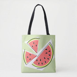 Watermelon Pieces Green tote bag pink back