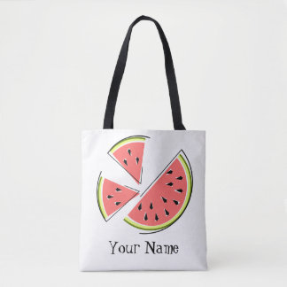 Watermelon Pieces Name tote bag