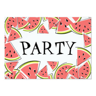 Watermelon Pieces Party invitation