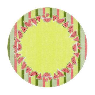 Watermelon Pieces Stripe border round Cutting Board
