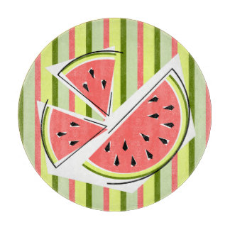 Watermelon Pieces Stripe Classic round Boards