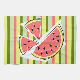 Watermelon Pieces Stripe kitchen towel