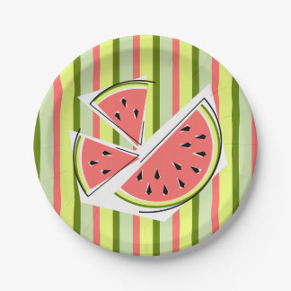 Watermelon Pieces Stripe paper plates