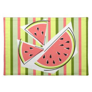 Watermelon Pieces Stripe placemat cloth
