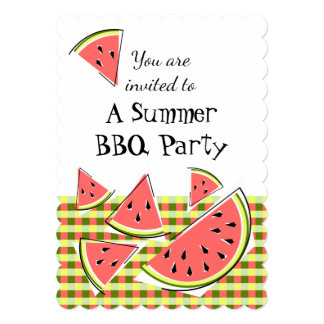 Watermelon Pieces Summer BBQ check vertical Card
