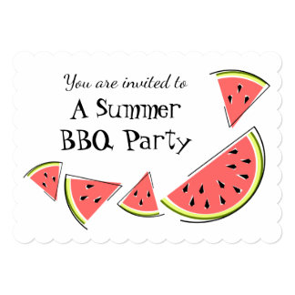 Watermelon Pieces Summer BBQ invitation horizontal