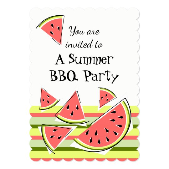 Watermelon Pieces Summer BBQ stripe vertical Card