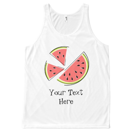 Watermelon Pieces Text all over tank top